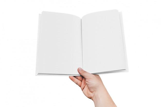 本の手で男をクローズアップ、白い背景に分離します。