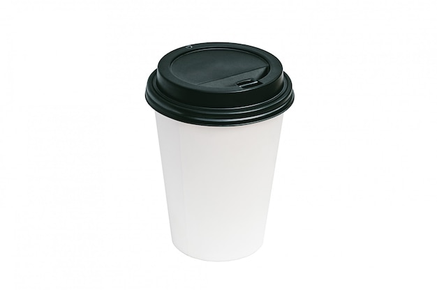 Изолированная кофейная чашка с концепцией еды черной крышки на вынос.