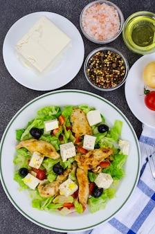 豆腐と鶏の胸肉の野菜サラダ。