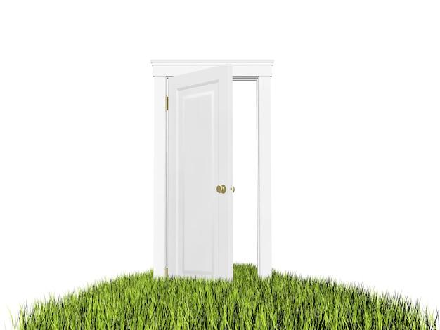 芝生の上で開いたドア
