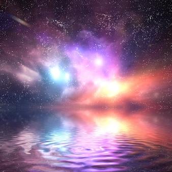 カラフルな宇宙は水に反映しました