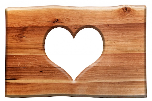 心を持つ木の看板