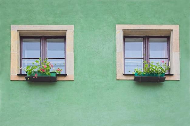 緑の壁に二つのウィンドウ