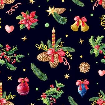 クリスマス水彩シームレスパターン。赤いポインセチアの花、ヒイラギ、葉、キャンドル、松ぼっくり