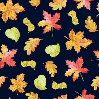 Акварельные листья клена, березы, дуба. яркий бесшовный фон