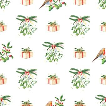 クリスマス水彩シームレスパターン。水彩のメリークリスマスカード。