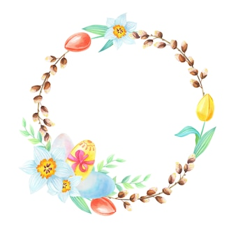 柳、卵、水仙、チューリップの水彩画の花輪。