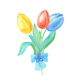 Акварельный букет с желтыми, красными, синими тюльпанами