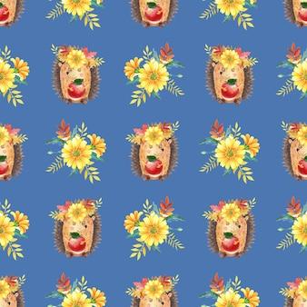 Акварель бесшовные модели с ежом, желтые цветы