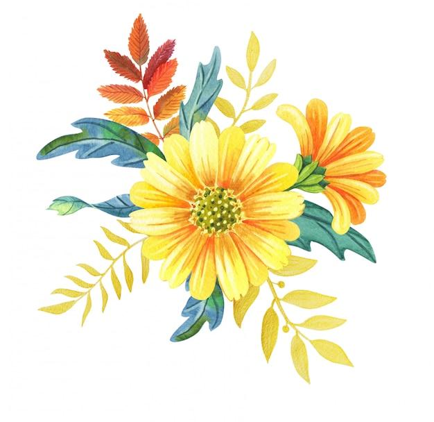 Акварель цветочная композиция из желтых цветов и осенних листьев