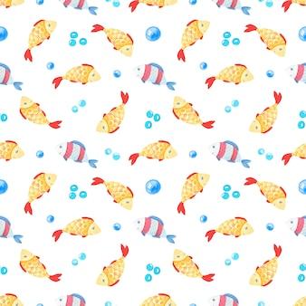 金魚と泡の水彩のシームレスパターン