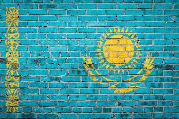 Флаг баннер на кирпичной стене.