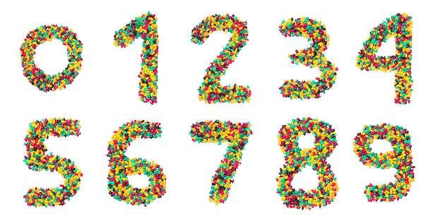Арабские цифры из разноцветного круглого шоколада