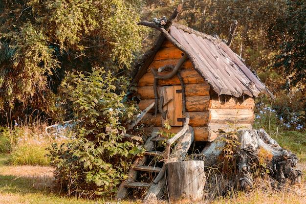 庭のおもちゃの木造住宅のクローズアップ