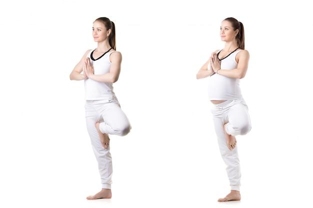 妊娠中の女性の前と後