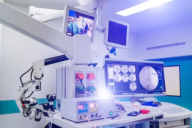 新しい手術手術器具。脳神経外科医療機器。部屋の側面図。閉じる。ハナポート機器。