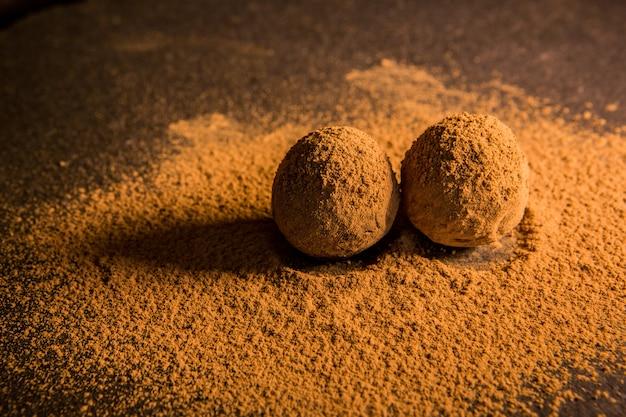 Шоколадный трюфель, трюфельные шоколадные конфеты с какао-порошком. домашние свежие энергетические шарики с шоколадом. ассорти из изысканных трюфелей, изготовленных шоколадом.