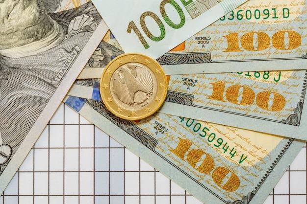 ドルの現金。紙幣。コイン。資金調達の概念。お金。