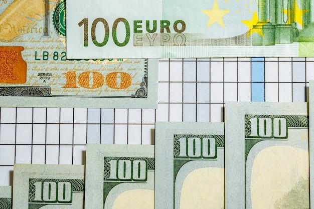 お金のアメリカのドル札とテーブルの上のユーロ紙幣の背景。お金。通貨。現金。