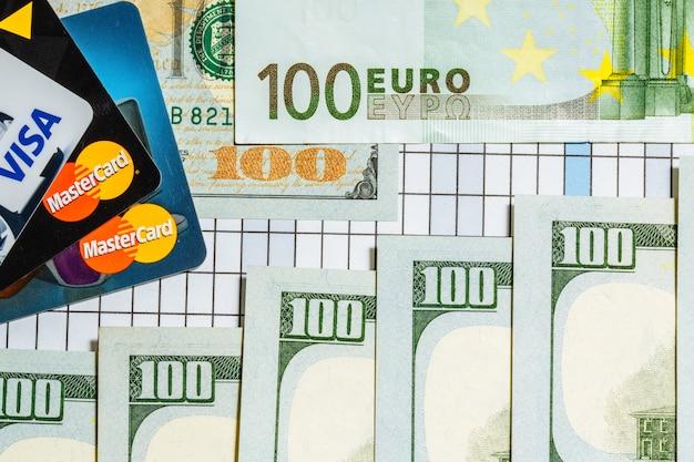 Банкноты в сто евро и сто долларов находятся рядом с банковскими карточками на клетчатой поверхности.