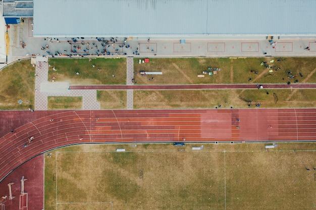 実行中の競争の航空写真