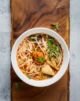 麺パスタスープボウル、上面図