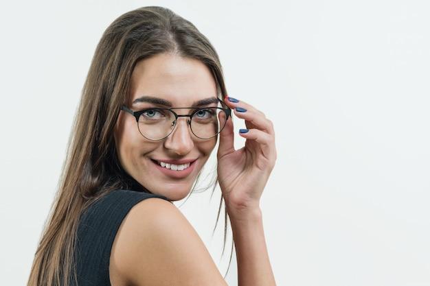 魅力的な女教師、実業家、メガネを着用