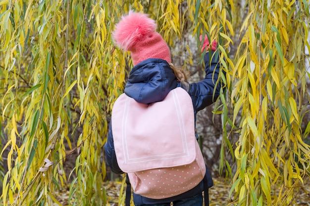 ピンクのバックパック、背面図、秋の背景を持つ少女