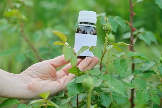庭師の手のクローズアップで化学殺虫剤のボトル