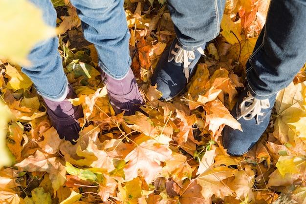 Ноги в джинсах и сапогах женщины и ребенка на желтых листьях