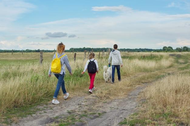 Трое детей с собакой гуляют по проселочной дороге, вид сзади