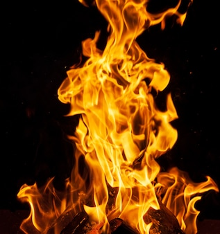 燃える木の丸太と大きなオレンジ色の炎