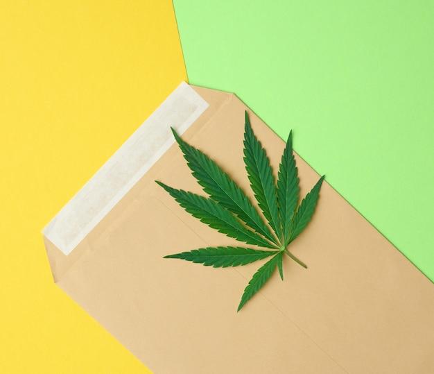 Коричневый бумажный конверт и зеленый лист бумаги на цветном фоне