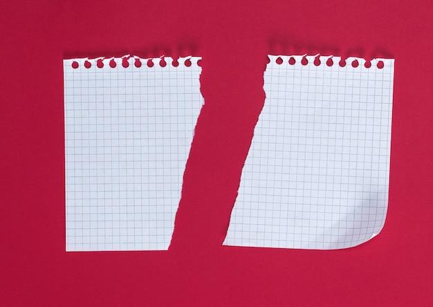 赤い背景の上のセルで半分引き裂かれた空白の白いシート