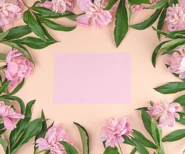 桃の背景に空のピンクの紙シート