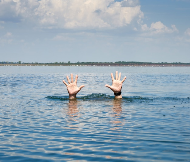 夏の日に男性の手のペアが海の水から突き出る