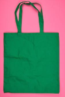 Пустая зеленая экологическая сумка из вискозы с длинными ручками