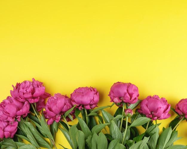 緑の葉と赤い牡丹の花束
