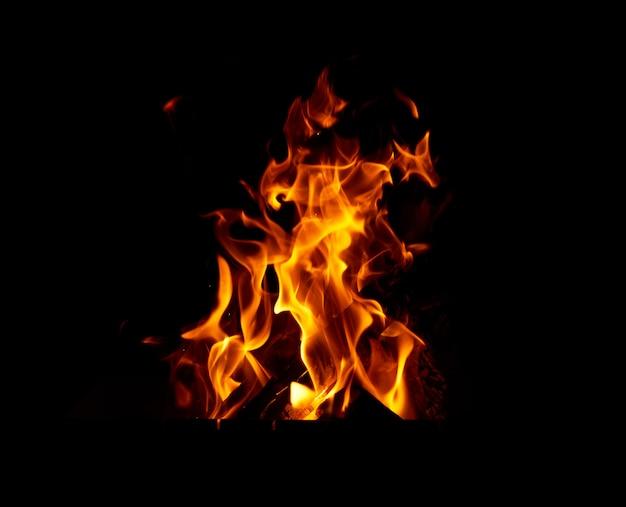 夜のたき火で木の丸太を燃焼