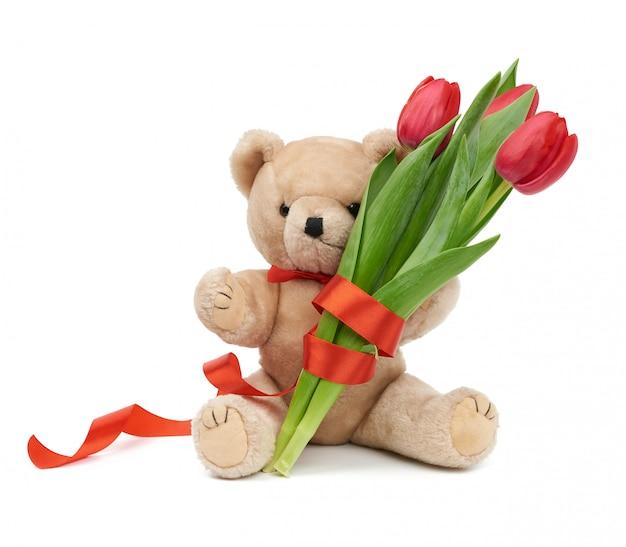 Милый коричневый мишка держит в лапе букет красных тюльпанов