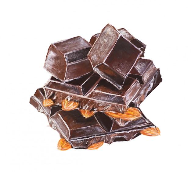 アーモンドと手描きのガッシュチョコレートバー