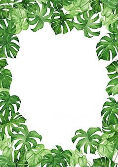 水彩の緑の熱帯の葉の背景