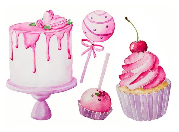 水彩のおいしいピンクのお菓子