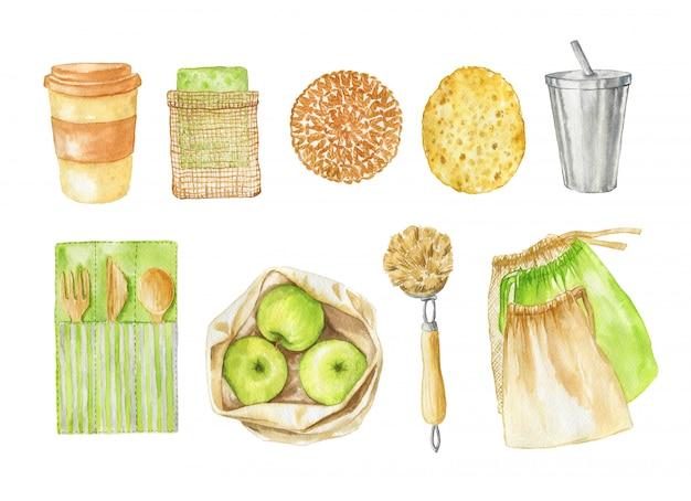 Набор акварели без отходов: мочалки, деревянные столовые приборы, кофейные кружки и хлопковые продуктовые сумки. экологически чистые продукты