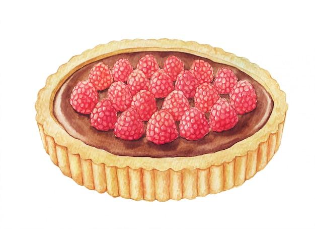 ラズベリーと水彩のチョコレートのタルト。白の手描きイラスト