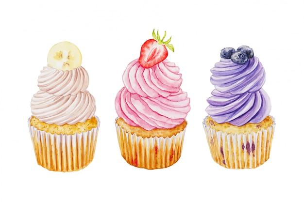 ブルーベリー、イチゴ、バナナ、白で隔離されるカップケーキの水彩セット