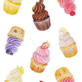 カップケーキと水彩のシームレスな背景