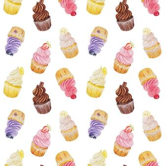 カップケーキと水彩のシームレスパターン