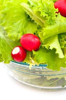 Свежий салат и редис в стеклянной миске на белом фоне