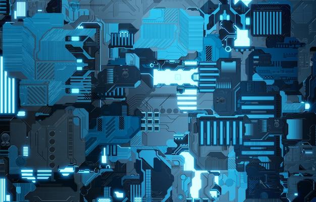 多くの詳細と未来的な青いハイテクパネルの背景